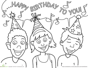 Birthday Coloring: Singing Friends | Happy birthday ...