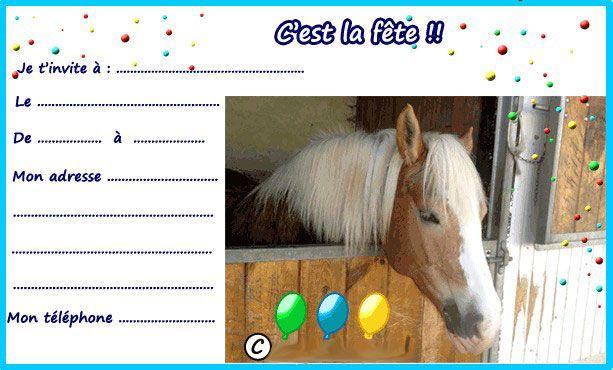 invitation anniversaire cheval à colorier