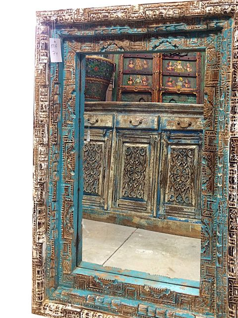 rustic carved wood square mirror frame indian architectural architecture antiquities indian architecture
