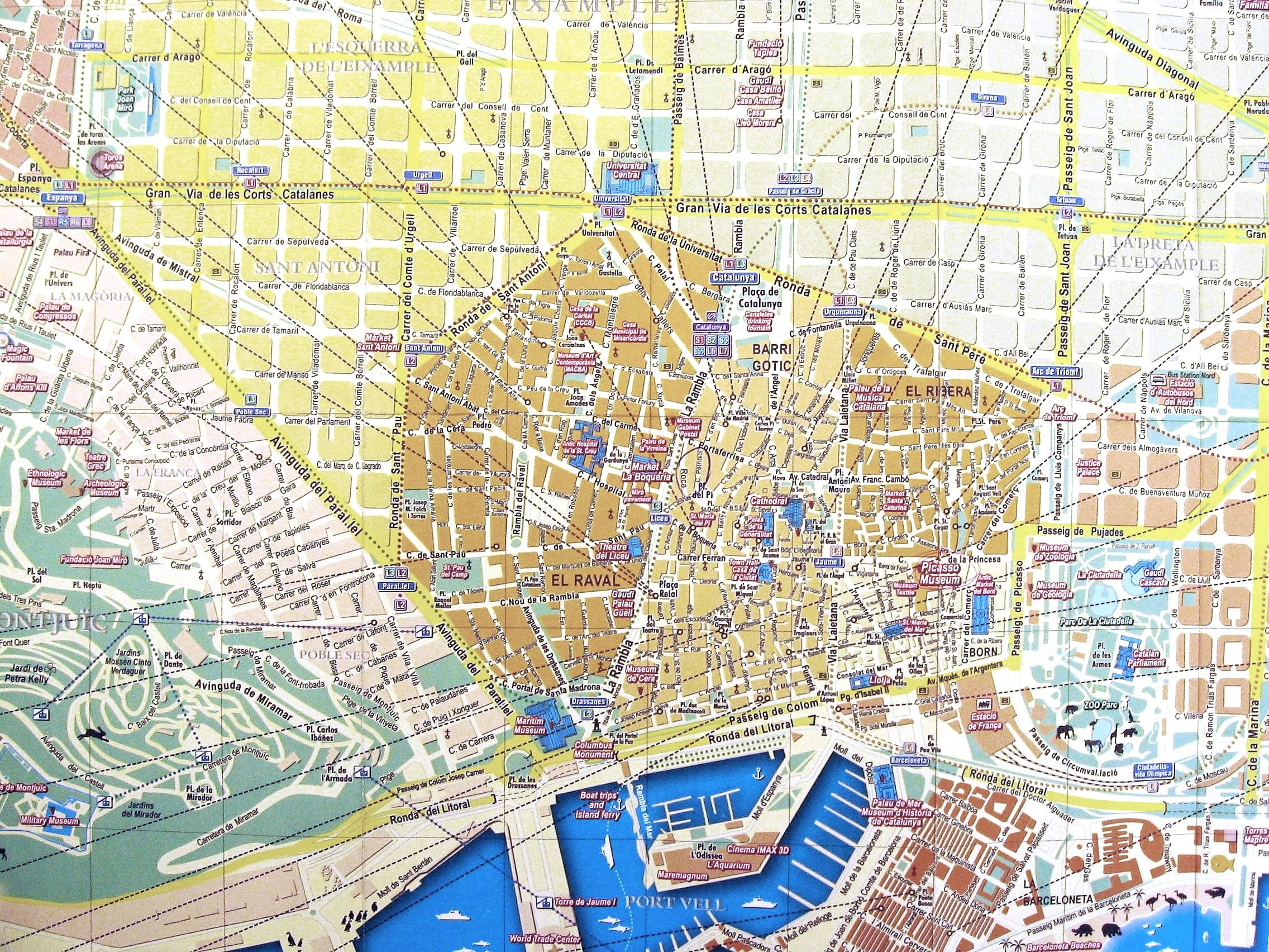 Streets map of Barcelona for tourists and visitors   Spain   Travel     Streets map of Barcelona for tourists and visitors   Spain
