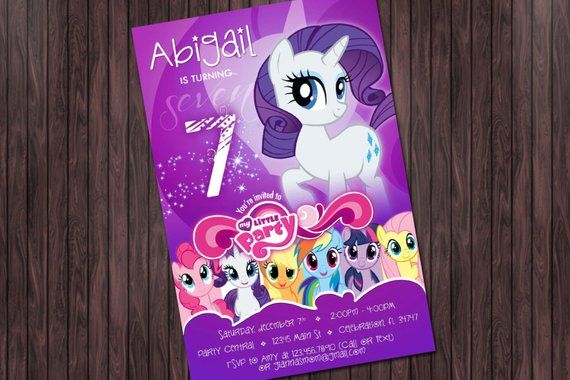 My Little Pony 2 Rarity Birthday Printable Party Invitation
