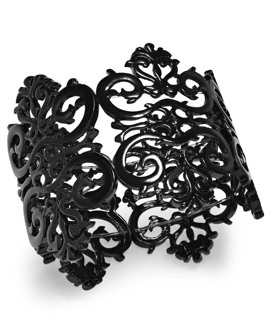 Bar Iii Black-Tone Filigree Lace Stretch Bracelet