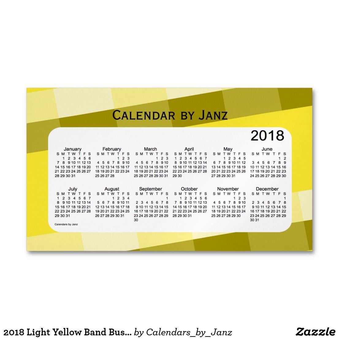 2018 Light Yellow Band Business Calendar by Janz Business Card ...