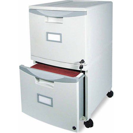 X 2 Drawer Mobile Filing Cabinet 14 3 4w 18 1 4d 26h Gray