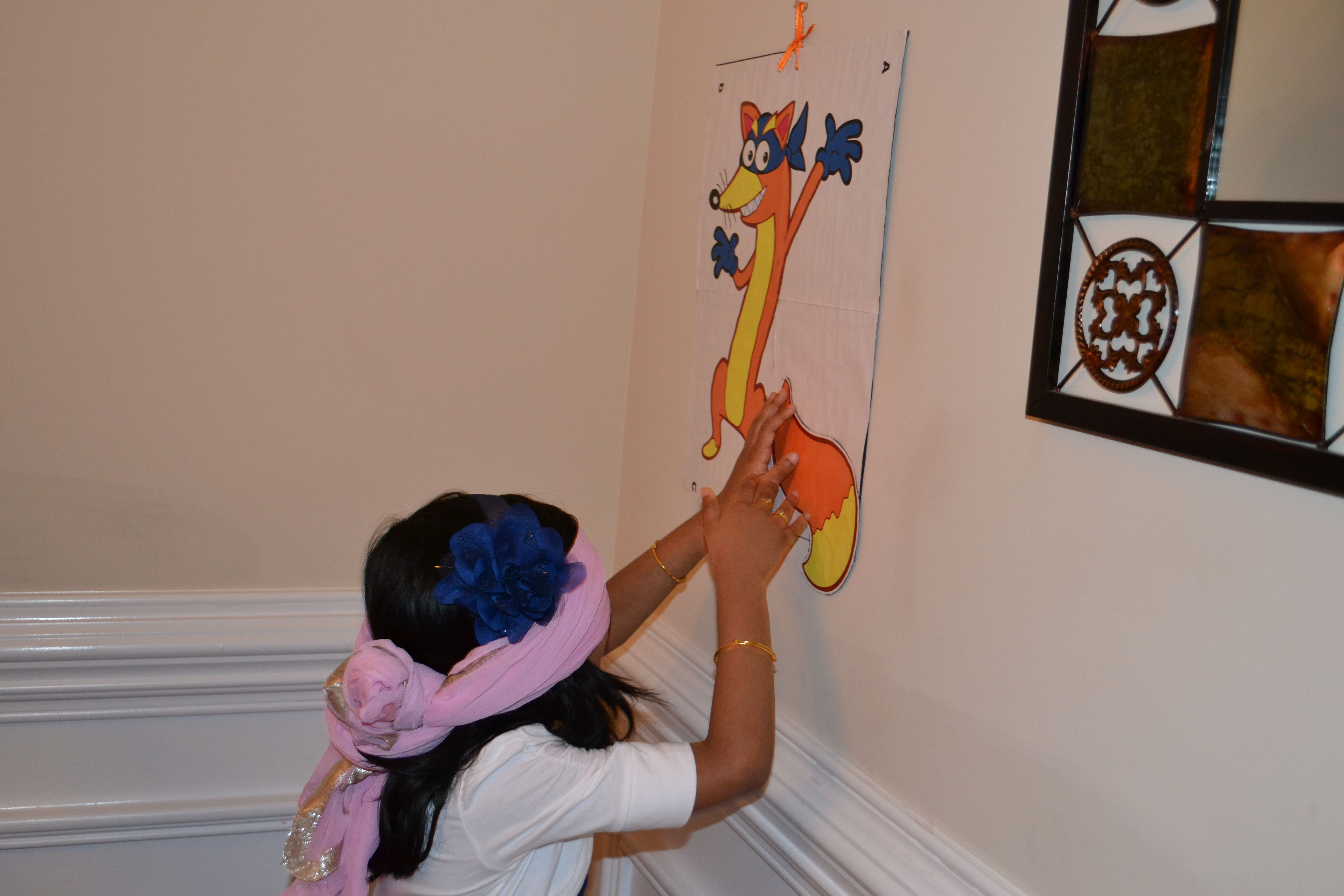 Pin the tail on swiperjust followed the instructions from nickjr