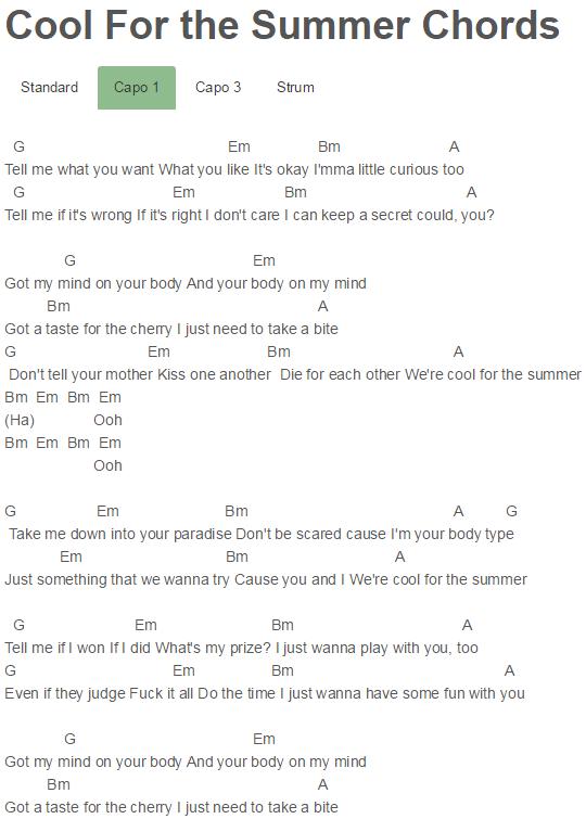 Cool For the Summer Chords Demi Lovato | j u n k d r a w e r ...