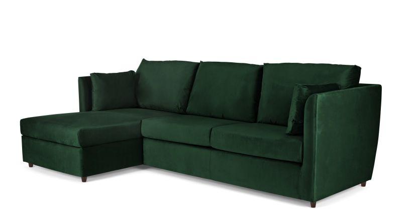 Milner Left Hand Facing Corner Storage Sofa Bed With Memory Foam Mattress Bottle Green Velvet In 2020 Foam Mattress Sofa Bed Corner Storage
