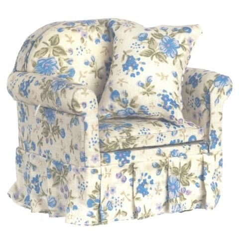 Best Blue Floral Chintz Overstuffed Chair Traditional Chairs 400 x 300