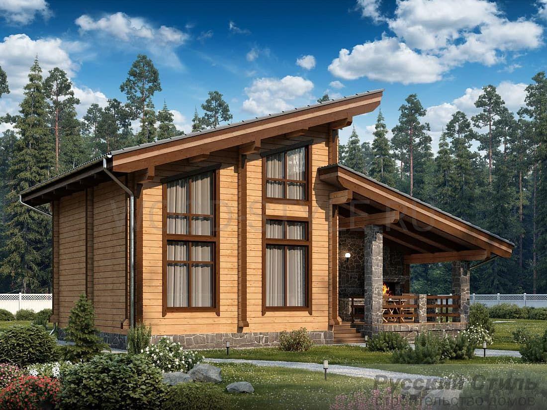 двухэтажные дома со скошенной крышей проекты фото растительный