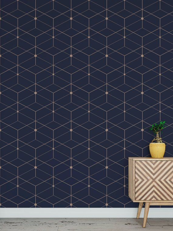 Removable peel and stick wallpaper/ blue deco geometric ...