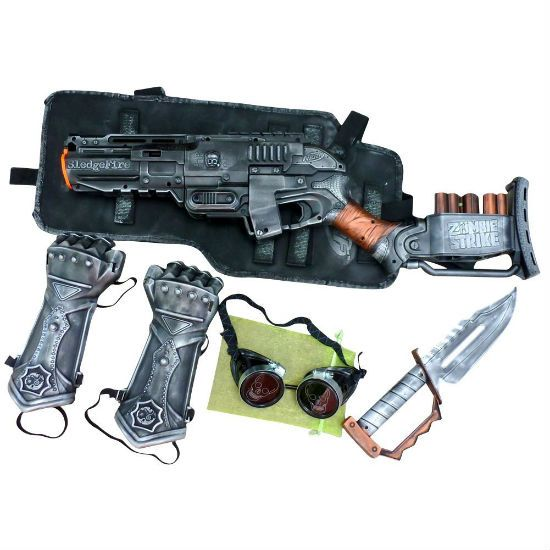 Steampunk nerf gun, gauntlets, goggles, and knife set !