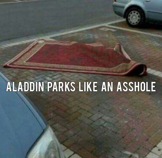 Www Naughtyparking Com Has A Card For This Alladin S Parking Skills Disney Memes Haha Funny Funny