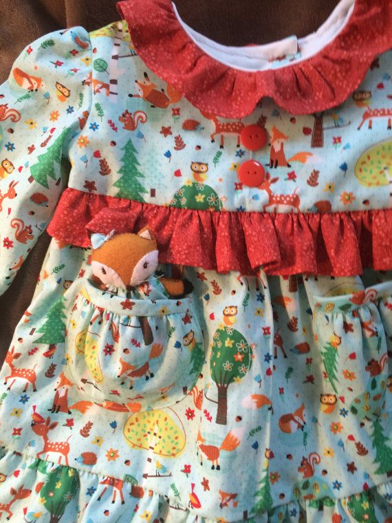 Deer Little Friends Top or Dress with Pocket Fox ; size 1T, by dragonbees on etsy