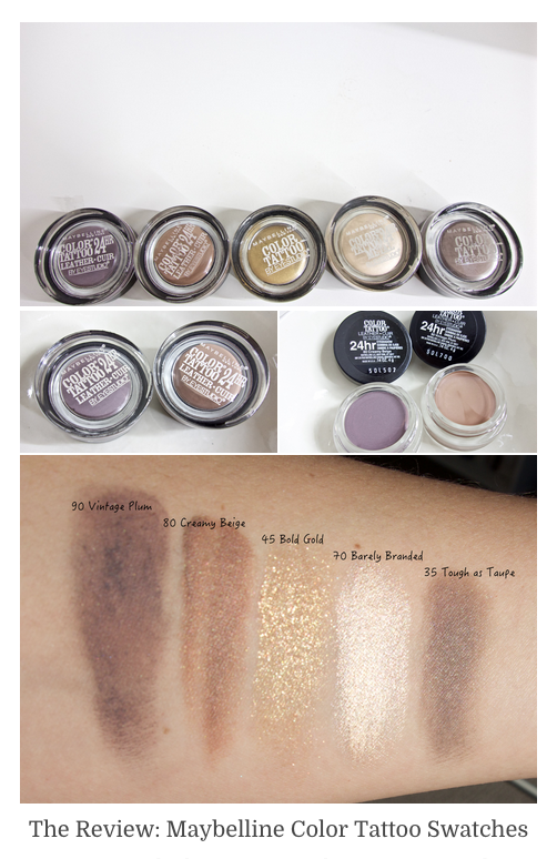 Maybelline Color Tattoo Cream Eyeshadows Swatches