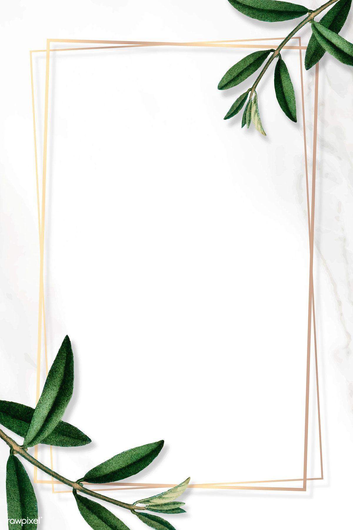 Download Premium Vector Of Gold Frame With Green Leaves On White Undangan Perkawinan Kertas Dinding Bingkai Foto