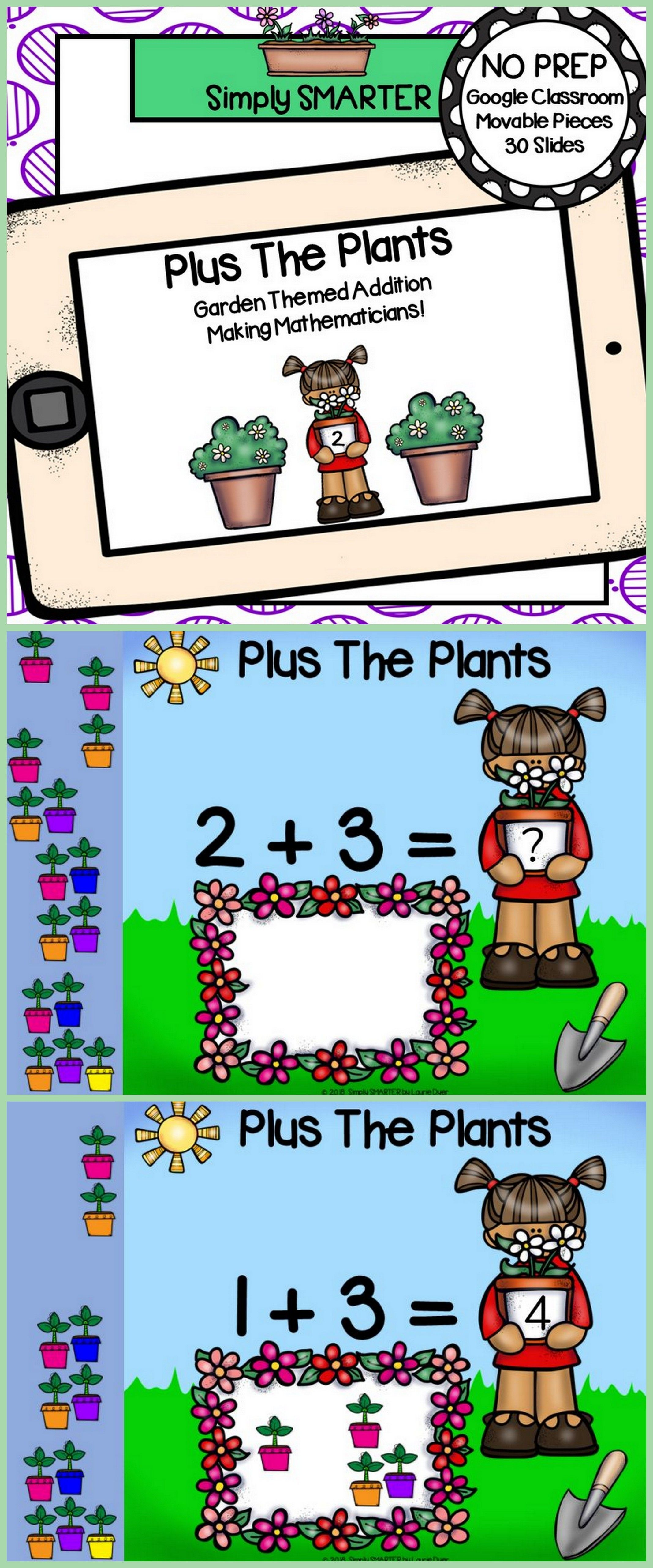 Distance Learning Garden Themed Addition Activities For