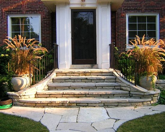 Front steps and sidewalks google search landscape for Front door steps ideas
