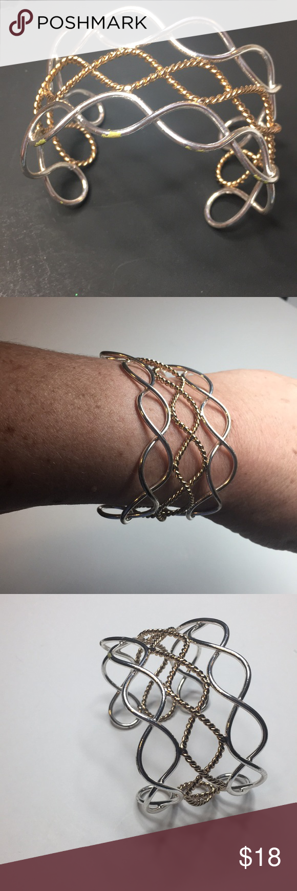 Cuff bracelet silver and gold tone cuff bracelet with oval weave