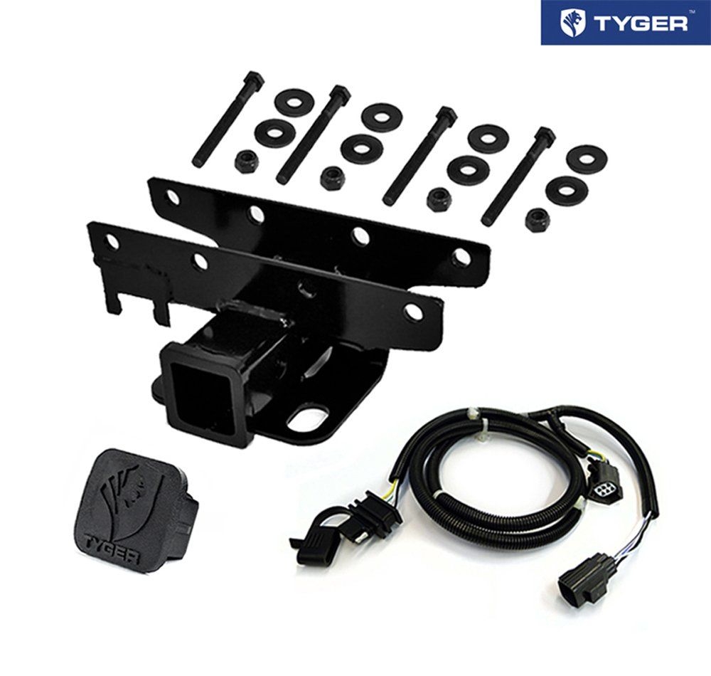 TYGER Towing Combo: 2inch Receiver Hitch & Wiring Harness & Hitch Cover  Fits 2007-2018 Wrangler JK 2Dr & 4Dr (Exclude 2018 JL Models)
