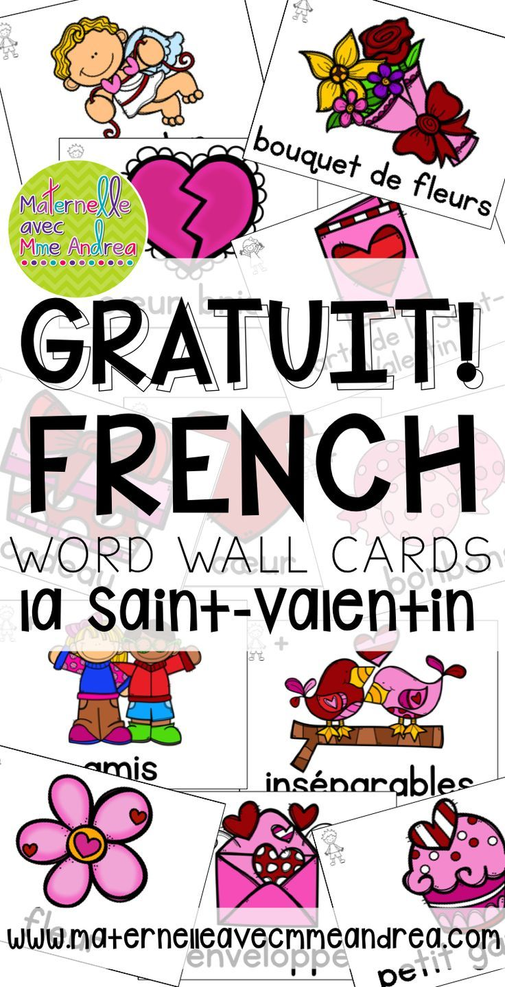free french vocabulary cards valentine 39 s day cartes de vocabulaire french valentine. Black Bedroom Furniture Sets. Home Design Ideas