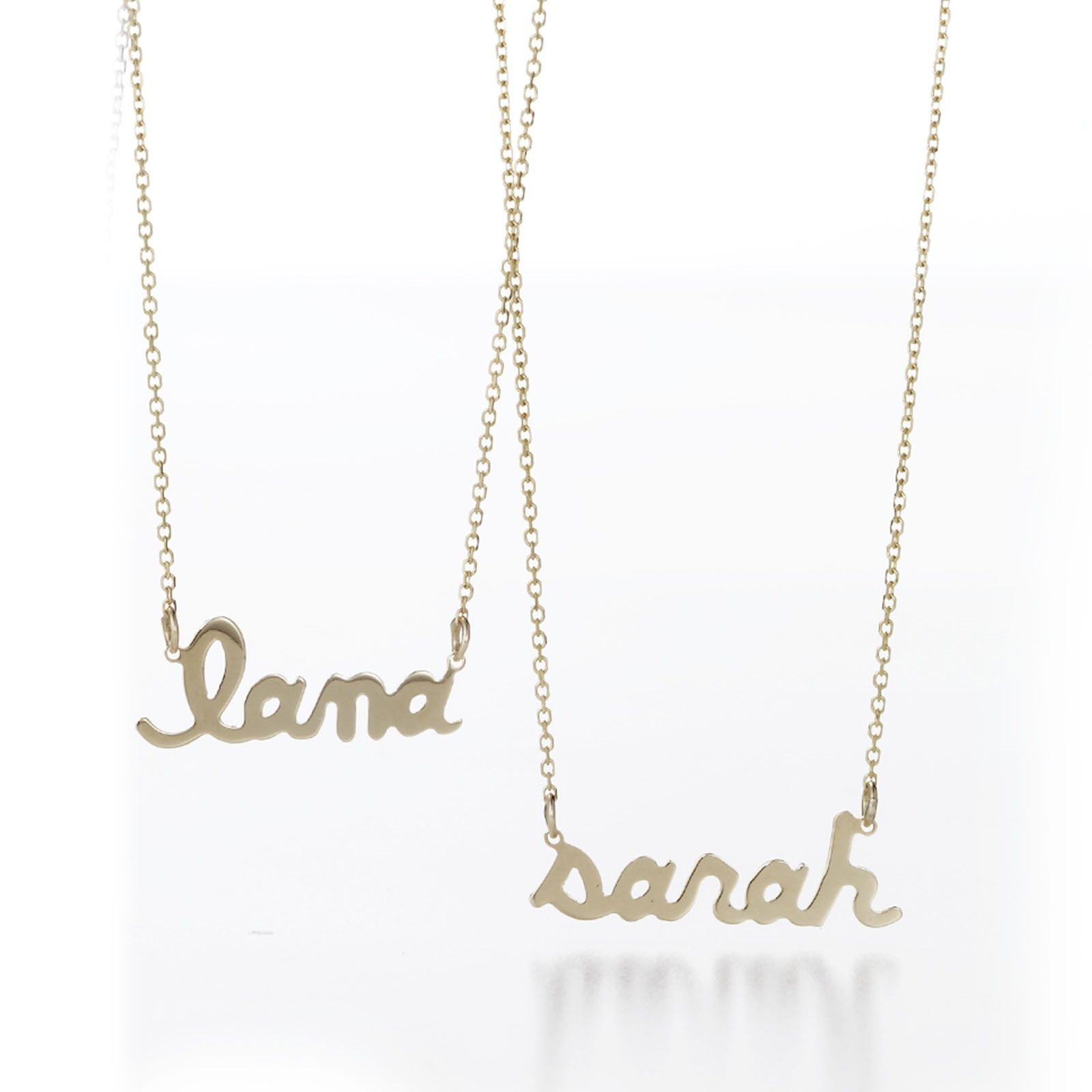 Personalized Direct Custom Made with Any Name Yellow Gold Over Sterling Silver Script Name Necklace Your Choice of Chain 16 or 18 Gift for Her