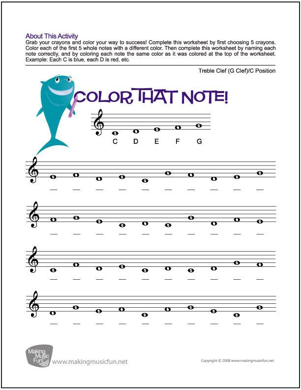 Color That Note - Free Note Name Worksheet - Treble Clef/C Position ...