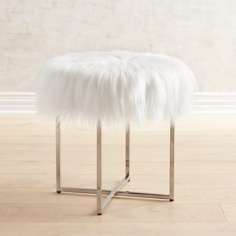 Patton Vanity Stool with White Faux Fur & Nickel Legs