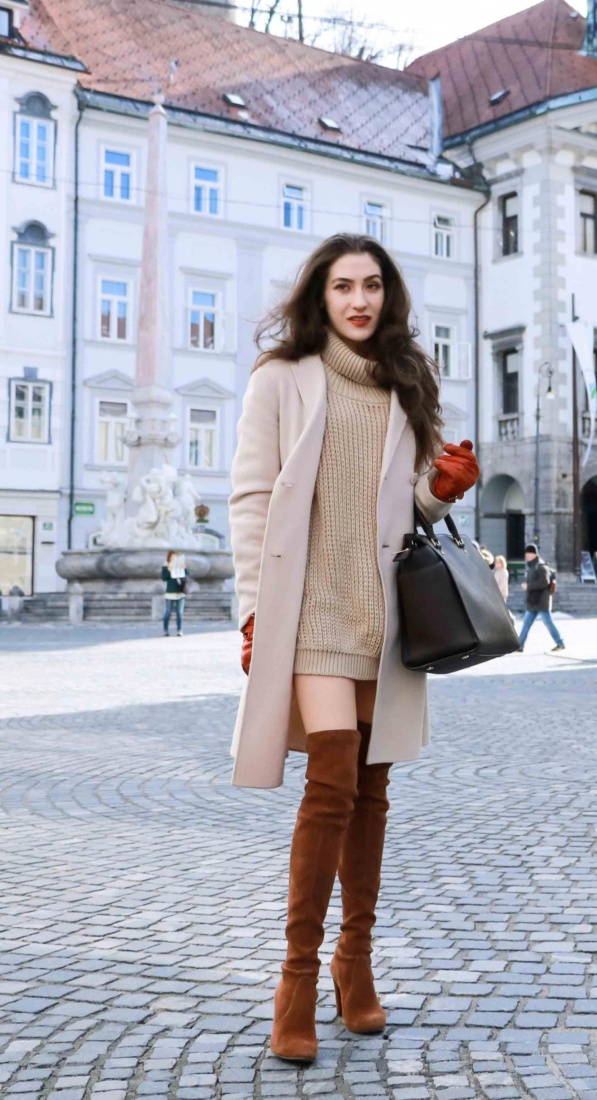 4021a1f1b3d Fashion Blogger Veronika Lipar of Brunette from Wall wearing double  breasted coat
