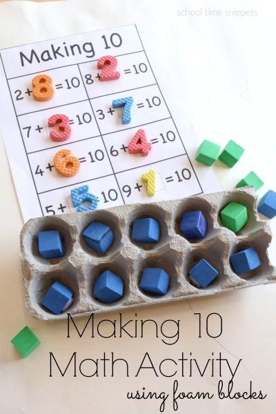 Egg Carton Ten Frame Math Activity | Math activities, Math, Making 10