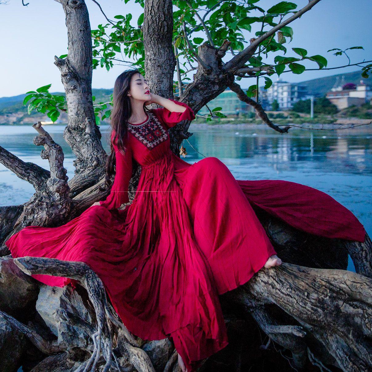 spring autumn new womenus national wind cotton linen dress red