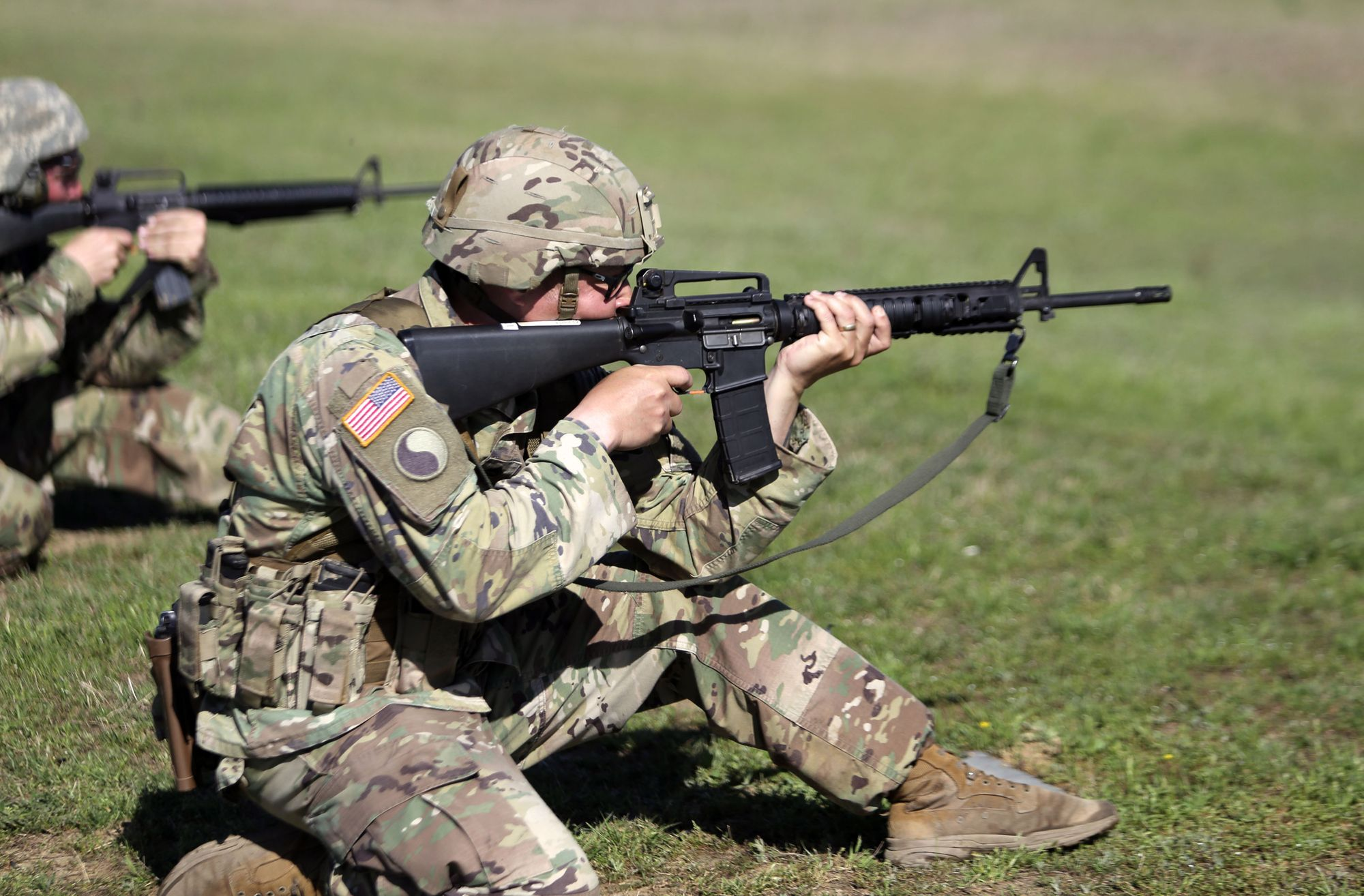 US Military Police Company Hones Marksmanship Skills in Firearms Training Simulator