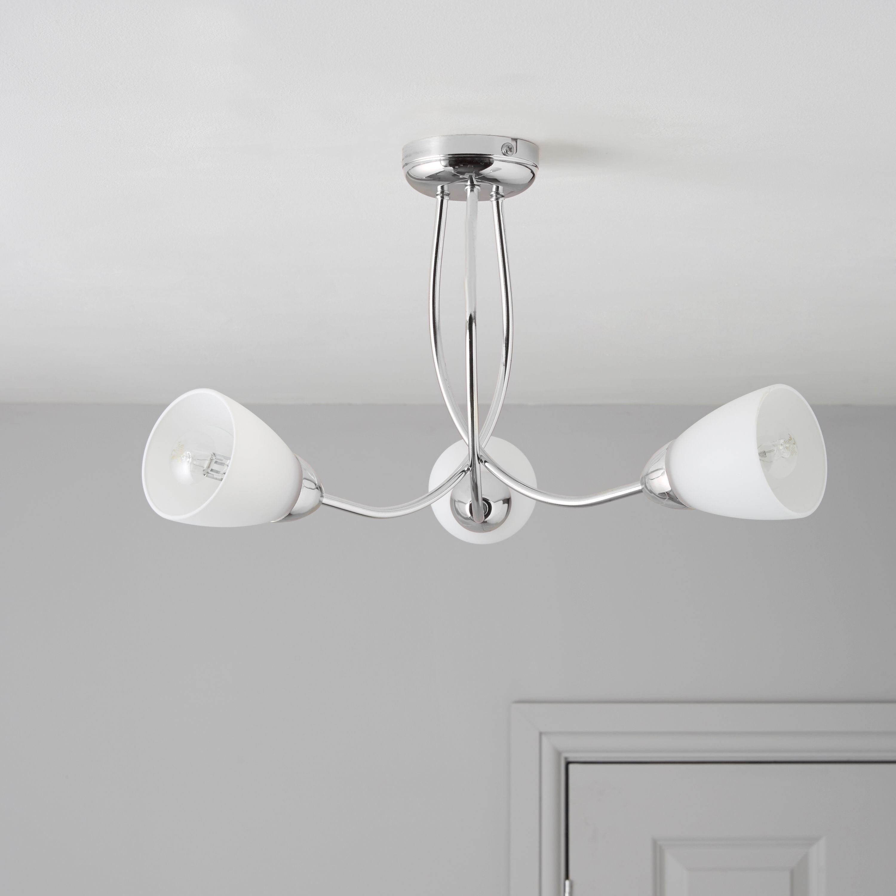 Virgo Chrome Effect 3 Lamp Ceiling Light | Departments | DIY at B&Q