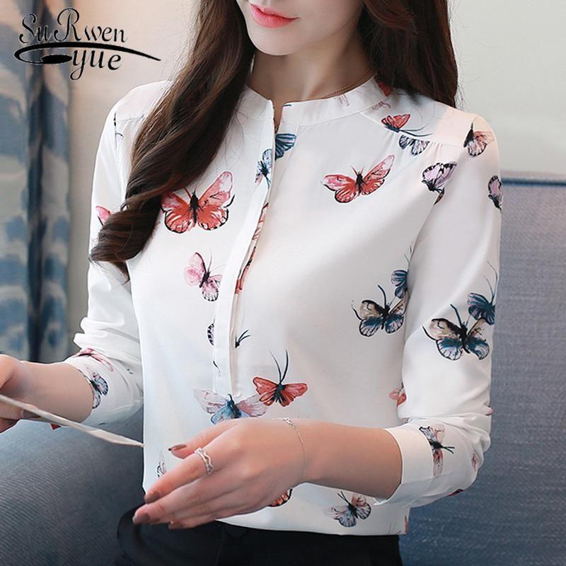 Butterfly long sleeve women shirts plus size white blouse print women  blouse shirt fashion womens blous…   Women shirts blouse, Ladies tops  fashion, Women shirt top