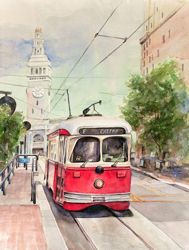 San Francisco Trolley Watercolor By Rex Kochel Art