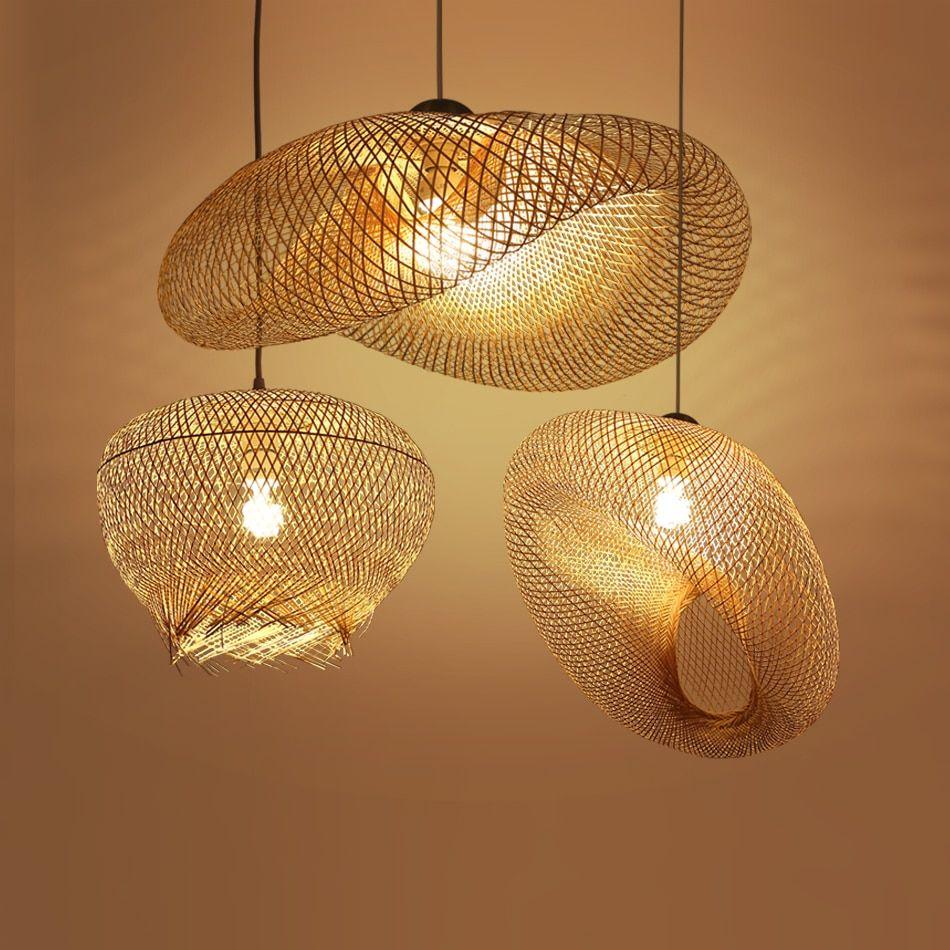 de reduction lampe suspendue en bambou