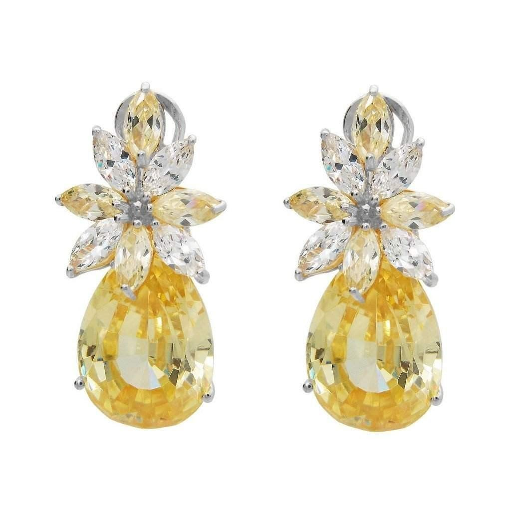 Victorian Canary Cz Flower Bulb Earrings   Gold Plated Sterling Silver