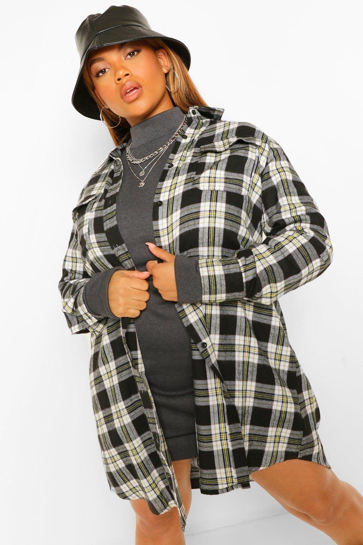 Women S Plus Boyfriend Check Shirt Dress Boohoo Uk Checked Shirt Dress Flannel Fashion Shirt Outfit Women [ 1500 x 1000 Pixel ]