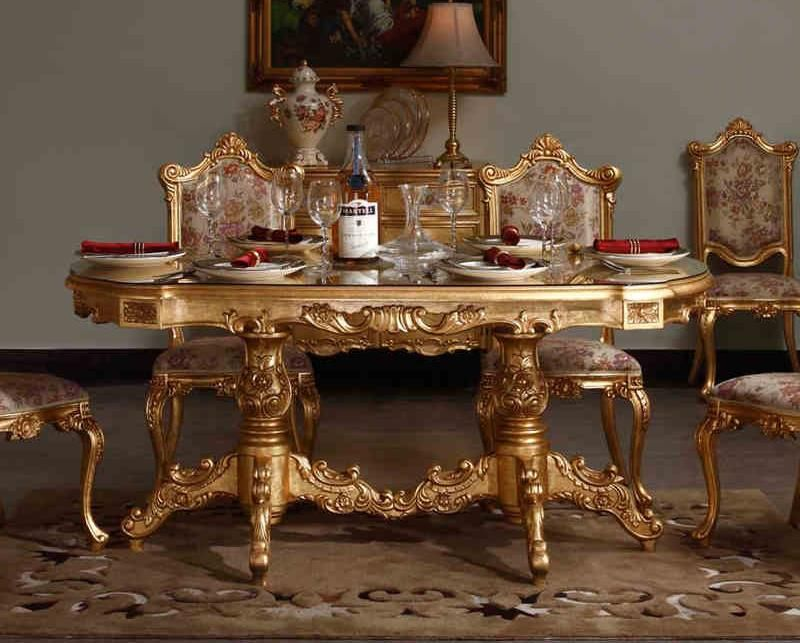 Extraordinary gold carving wooden dining table wonderful flower pattern leather base wooden dining chair rectangular brown bulky carpet classic umbrella shade table lamp unique white earthenware