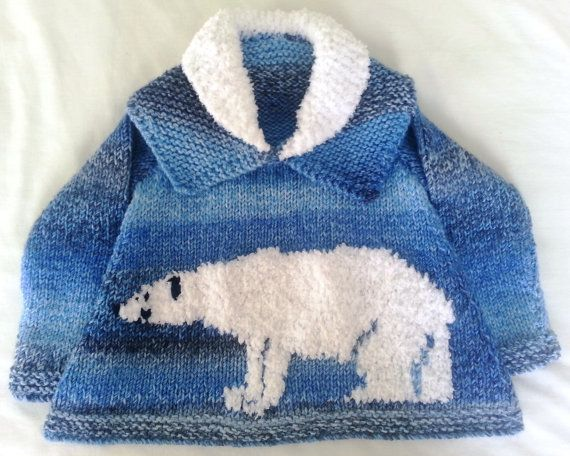 Childrens Sweater Knitting Pattern With Polar Bear Polar Bear