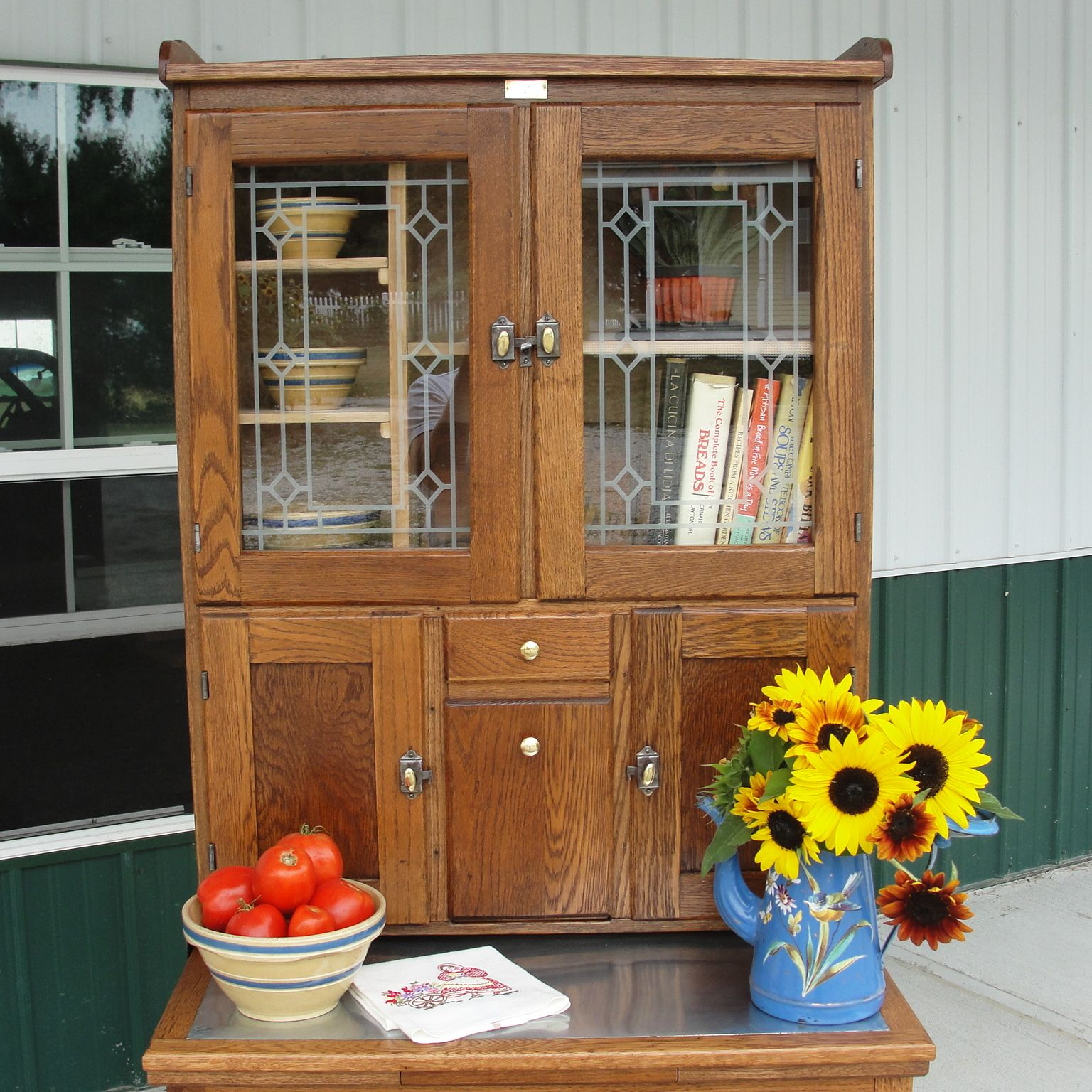 Small Hoosier style kitchen cabinet with etched glass in ...