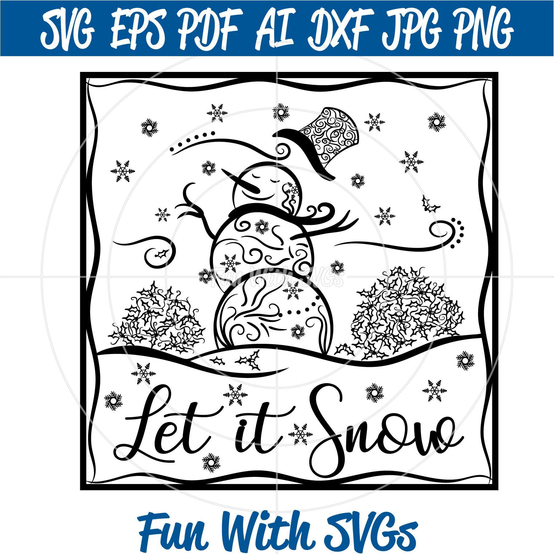 Glass Block Snowman SVG, Zentangle Snowman, SVG FIles
