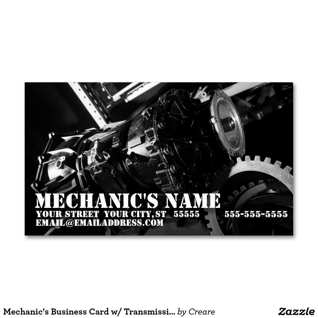Mechanic\'s Business Card w/ Transmission Photo | Business cards ...