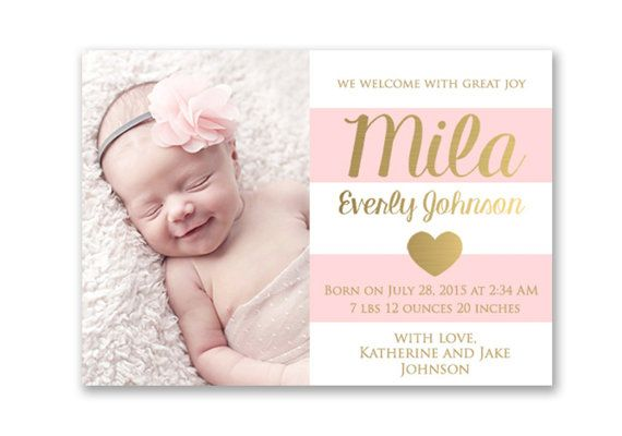 Pink And Gold Baby Girl Birth Announcement Card Digital Printable