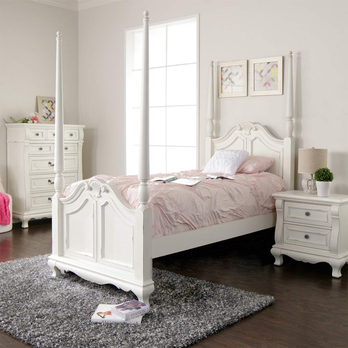 With All The Grace And Charm Of A Treasured Antique The Amelia White 4 Poster Bedroom Set Wil Affordable Bedroom Furniture Bedroom Sets Bedroom Furniture Sets