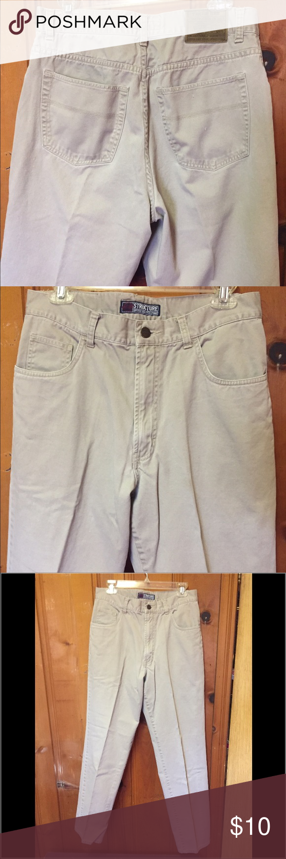 """Men's Structure Jeans Men's Structure Jeans in light gray. W 32 L 32 and made of cotton. These are made strong and to lady a long time. """"Superior Quality Clothing"""". Can be worn as casual or for work in trades or shop. Last picture shows a tiny flaw on the left leg of pant. Not really noticeable. Bundle two or more items for 15% off discount! structure Jeans Bootcut"""