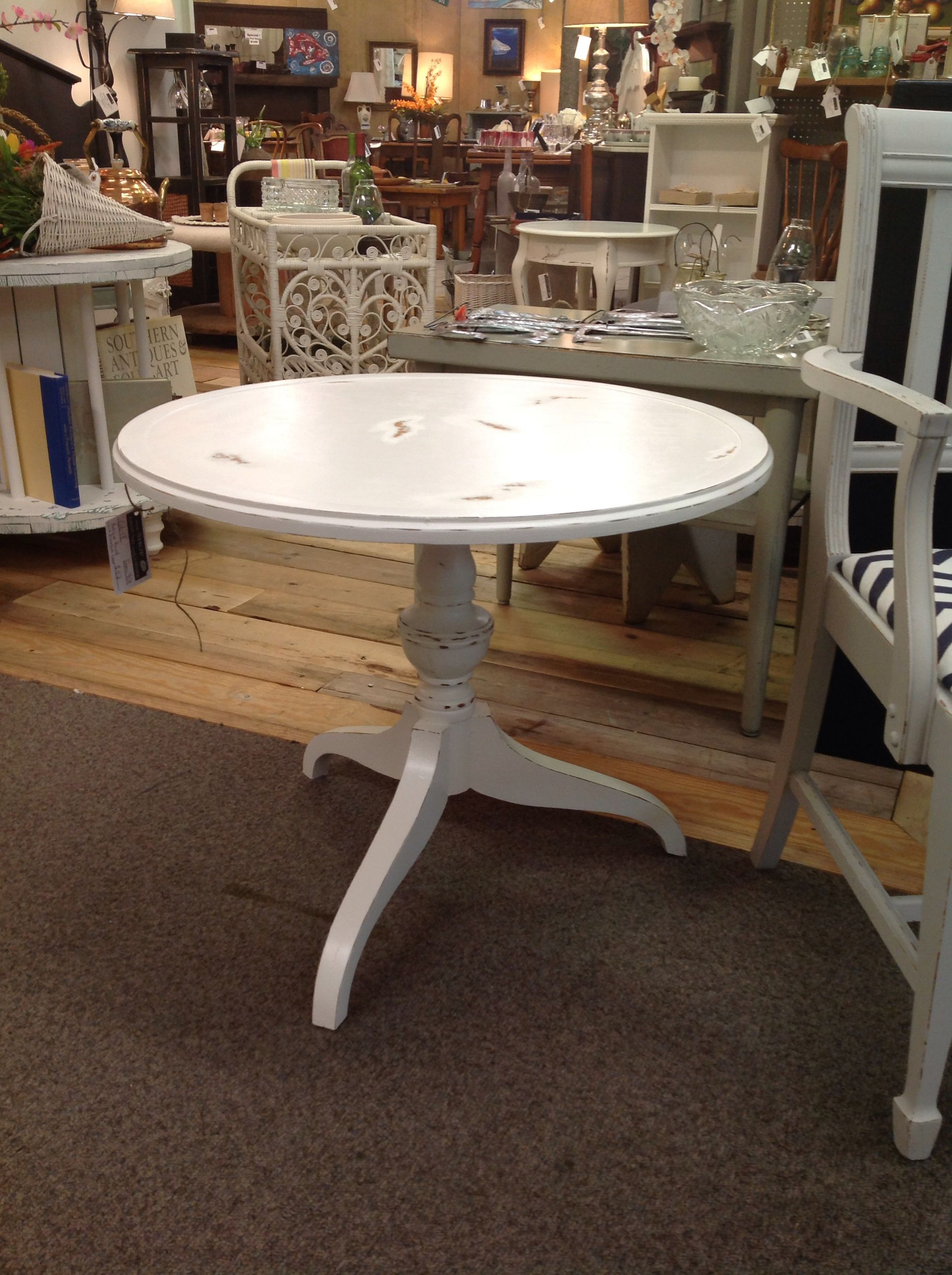 Antique distressed round end table end tables wood decor