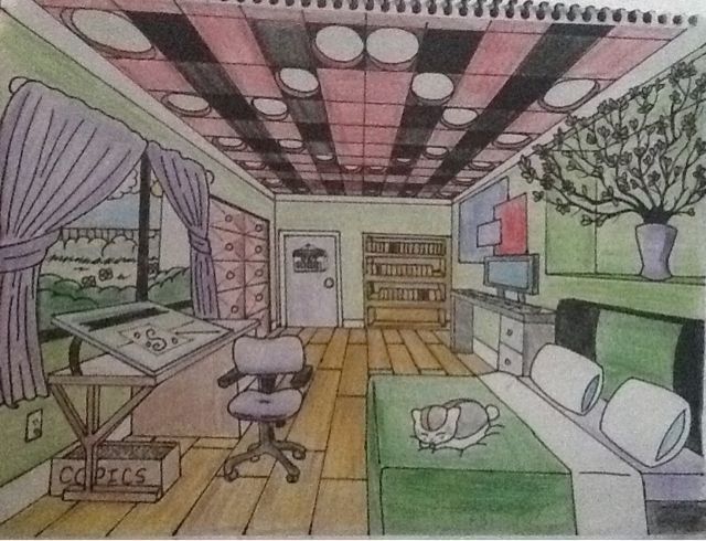 One Point Perspective For Art Class And Got A Praise This Would Definitely Be My Dream Room If Nya Perspective Room One Point Perspective Room Perspective Art