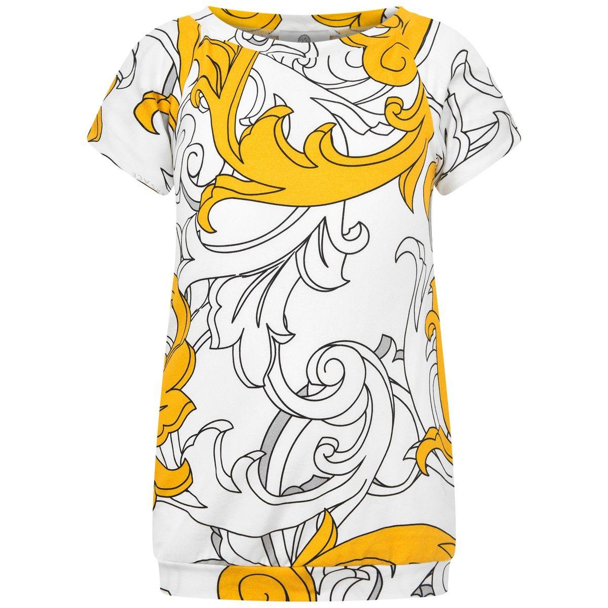 00c127e65 Young Versace Girls White   Gold Baroque Print TunicTop