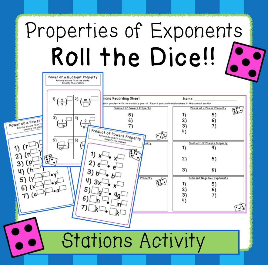 Exponent Properties - Roll the Dice! Stations Activity (8.EE ...