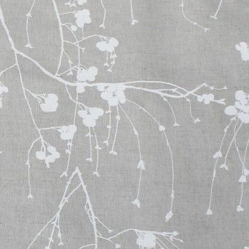 Berry White - Natural fabric with white botanical print